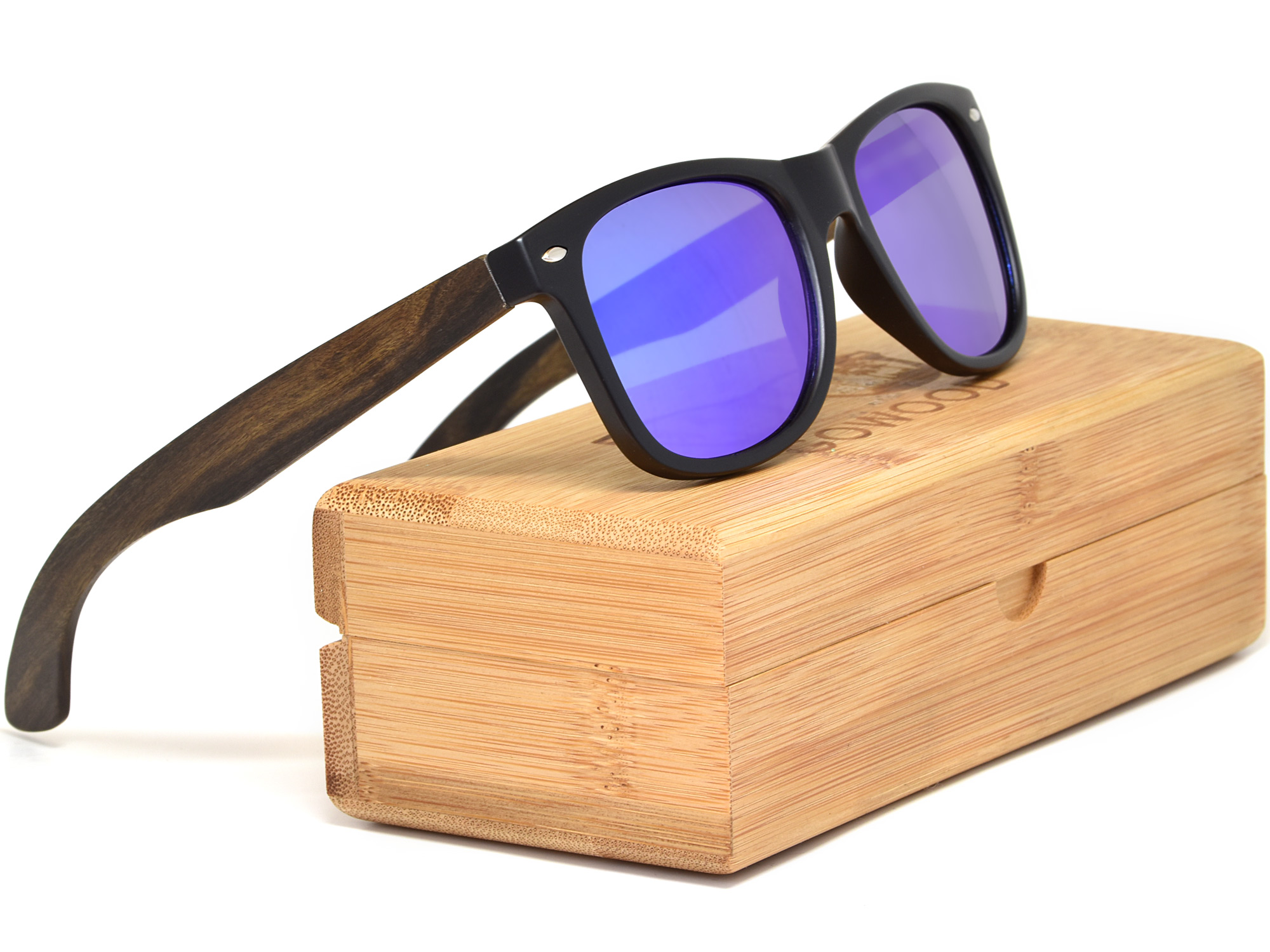Ebony wood sunglasses with blue mirrored lenses model set
