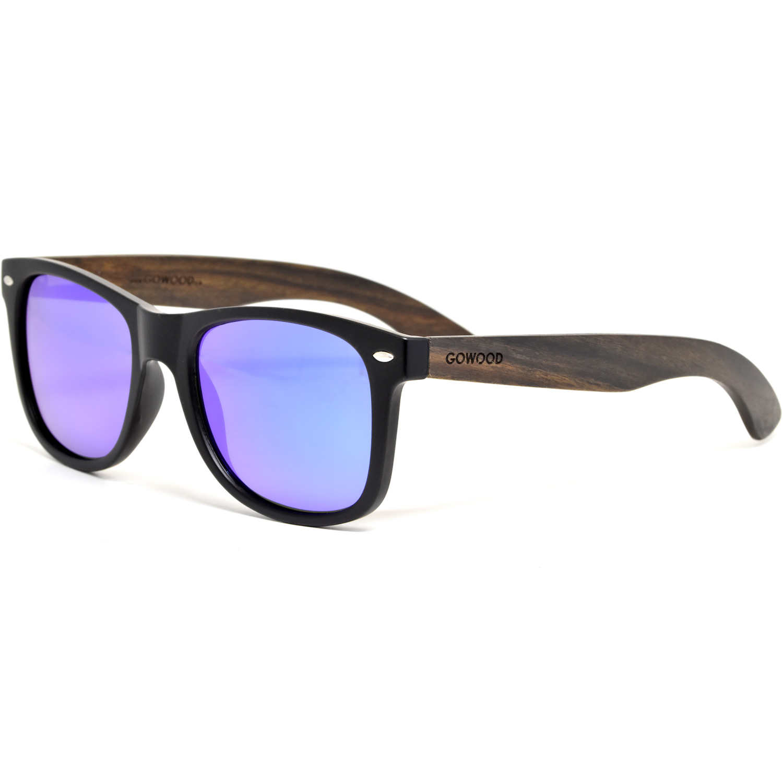 Ebony wood wayfarer sunglasses with blue mirrored polarized lenses