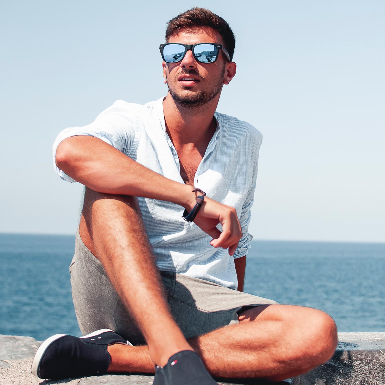 Ebony wood wayfarer sunglasses blue lenses on men
