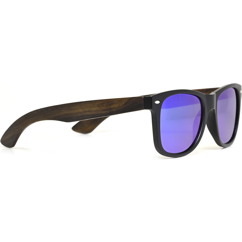 Ebony wood wayfarer sunglasses blue lenses