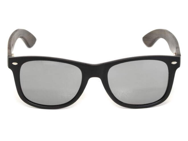 Ebony wood sunglasses with silver mirrored lenses front