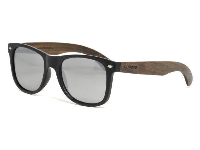Ebony wood sunglasses with silver mirrored lenses