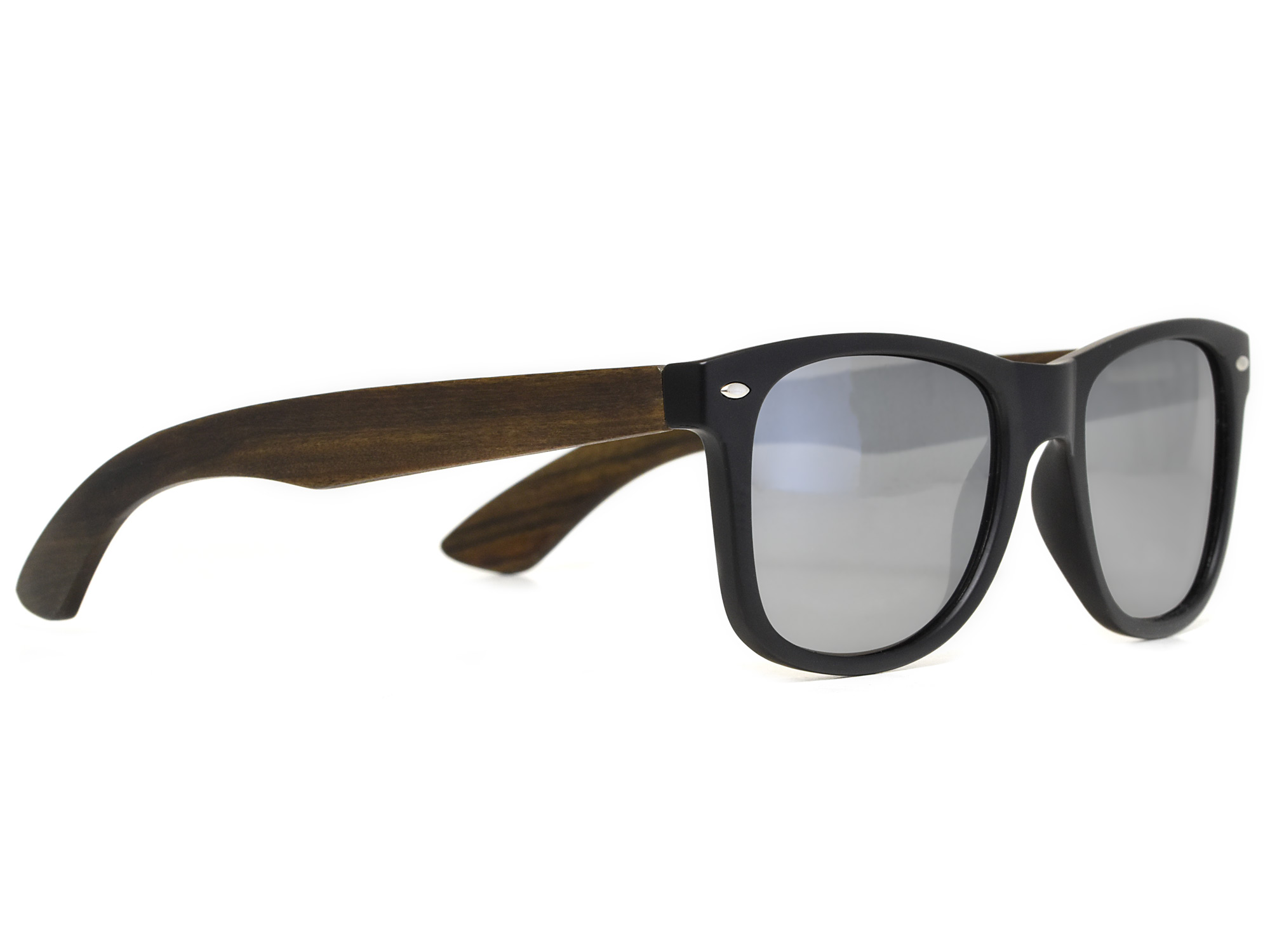 Ebony wood sunglasses with silver mirrored lenses right
