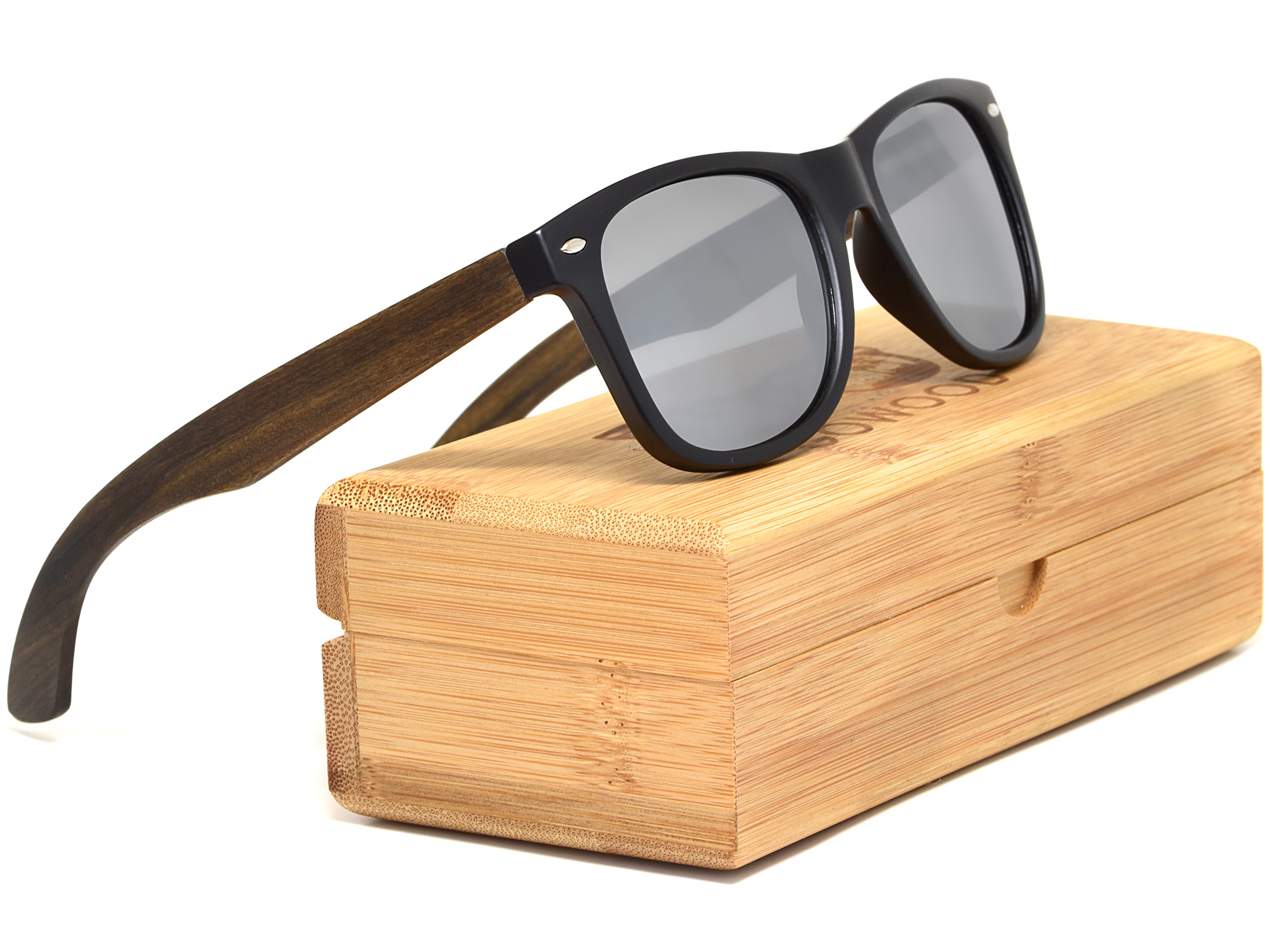 Ebony wood sunglasses with silver mirrored lenses set