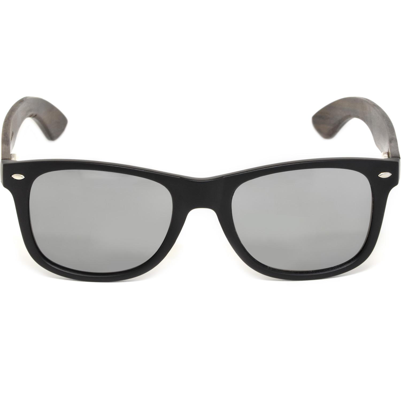 Ebony wood wayfarer sunglasses silver lenses acetate front frame