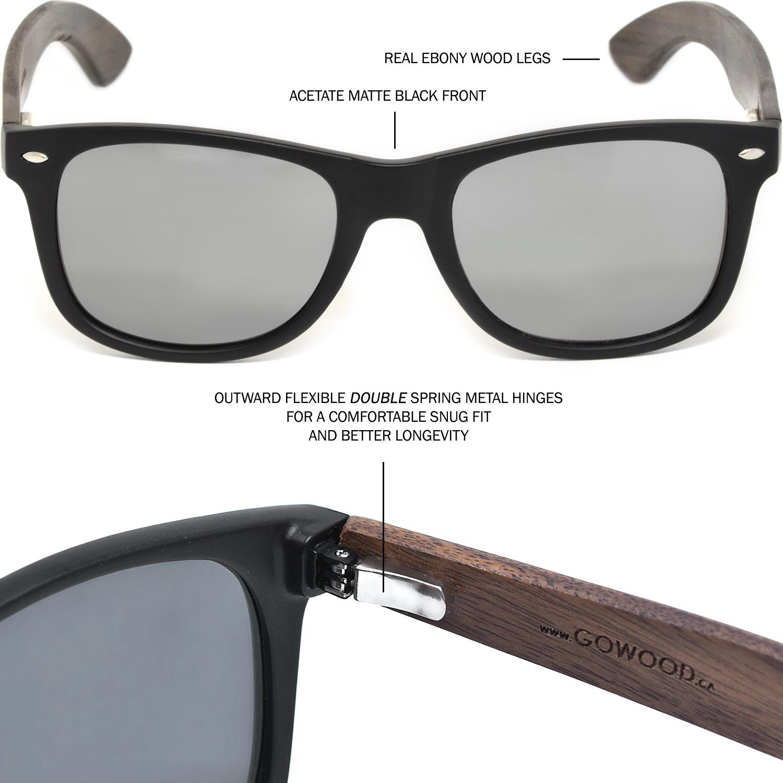 Ebony wood wayfarer sunglasses silver lenses hinge