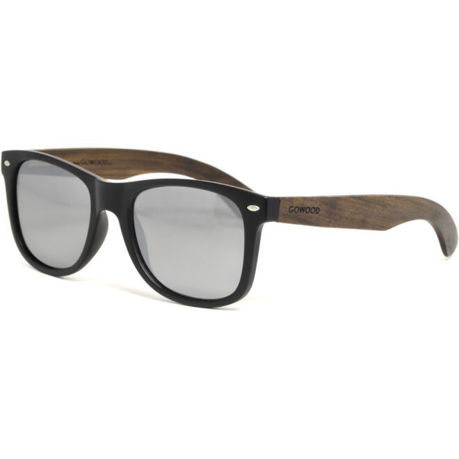 Ebony wood wayfarer sunglasses with silver mirrored polarized lenses
