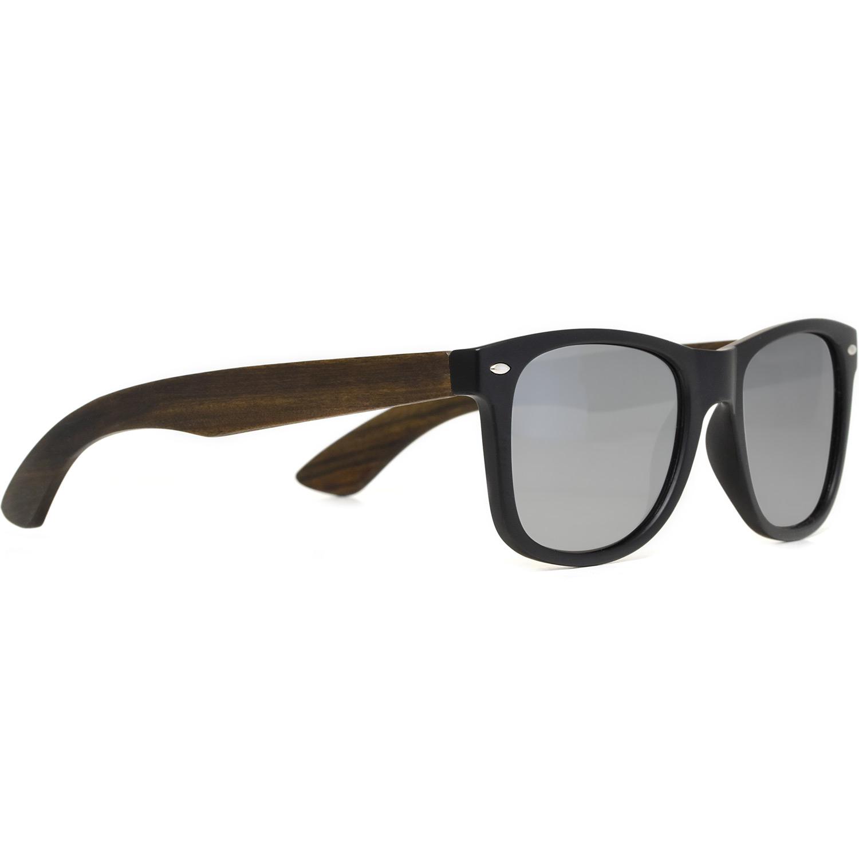 Ebony wood wayfarer sunglasses silver lenses