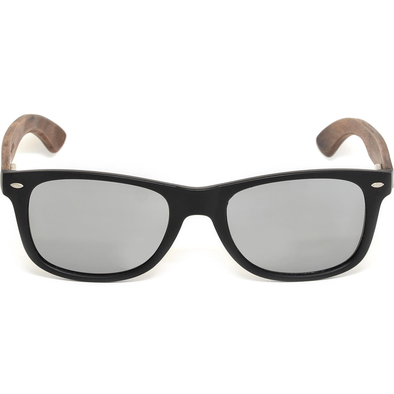 Walnut wood wayfarer sunglasses silver lenses acetate front frame