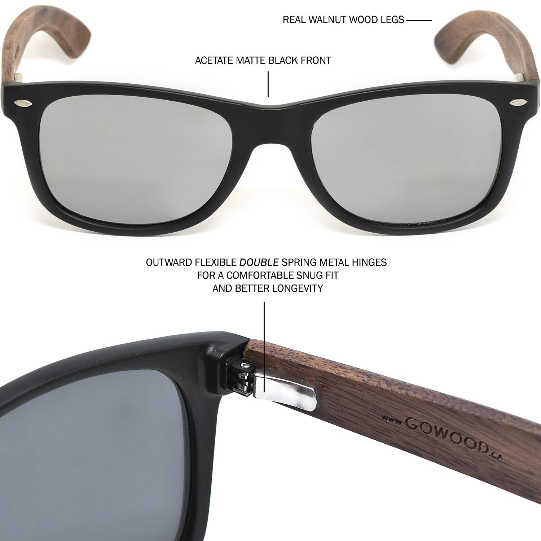 Walnut wood wayfarer sunglasses silver lenses hinge