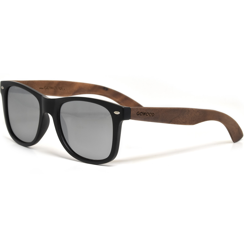 Walnut wood wayfarer sunglasses silver mirrored polarized lenses