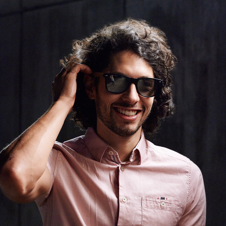 Walnut wood wayfarer sunglasses silver lenses on men
