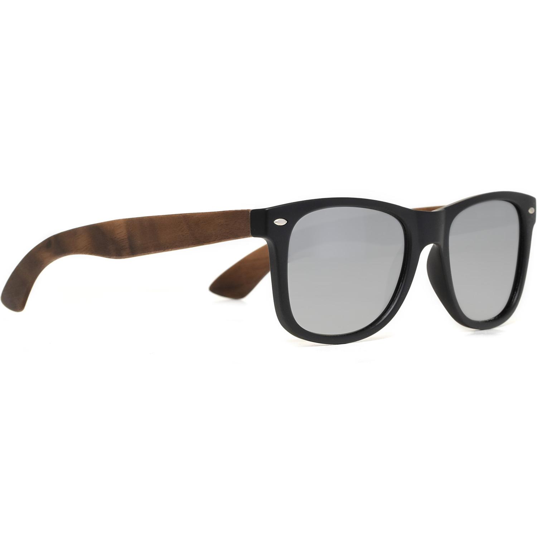 Walnut wood wayfarer sunglasses silver lenses right