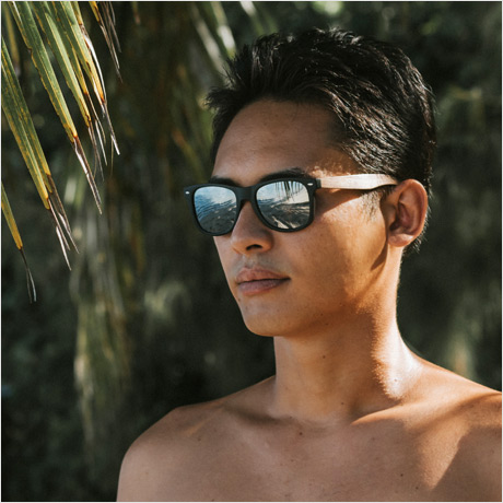 Walnut wood sunglasses with silver mirrored polarized lenses
