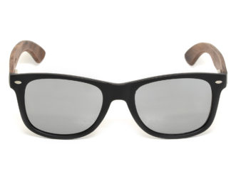 Walnut wood sunglasses with silver mirrored lenses front