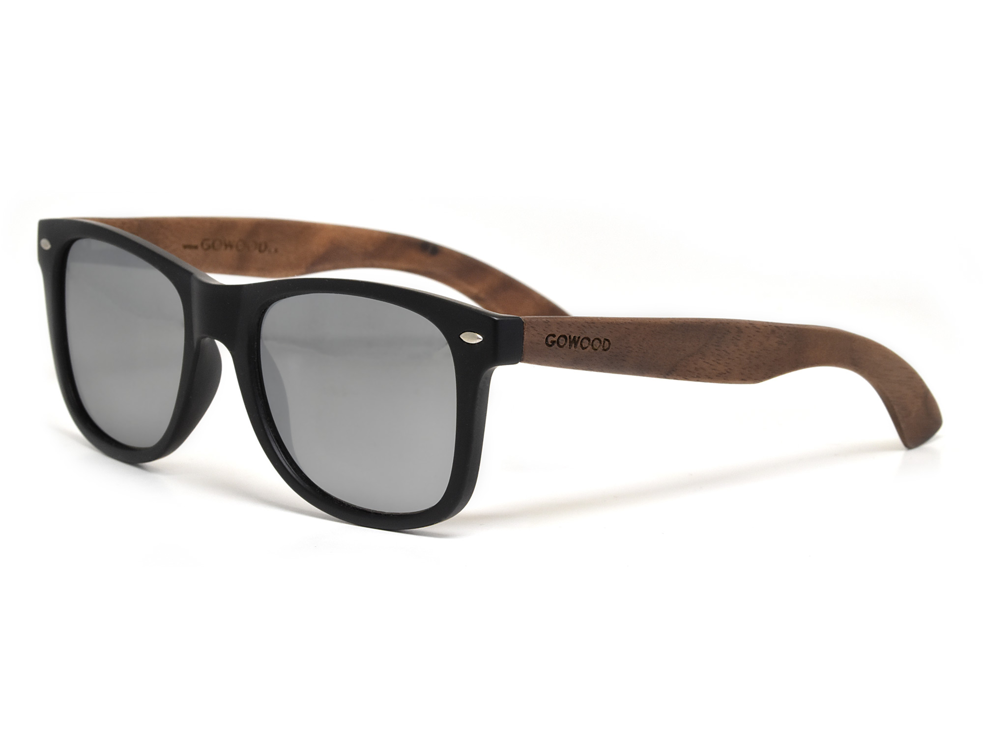 Walnut wood sunglasses with silver mirrored lenses