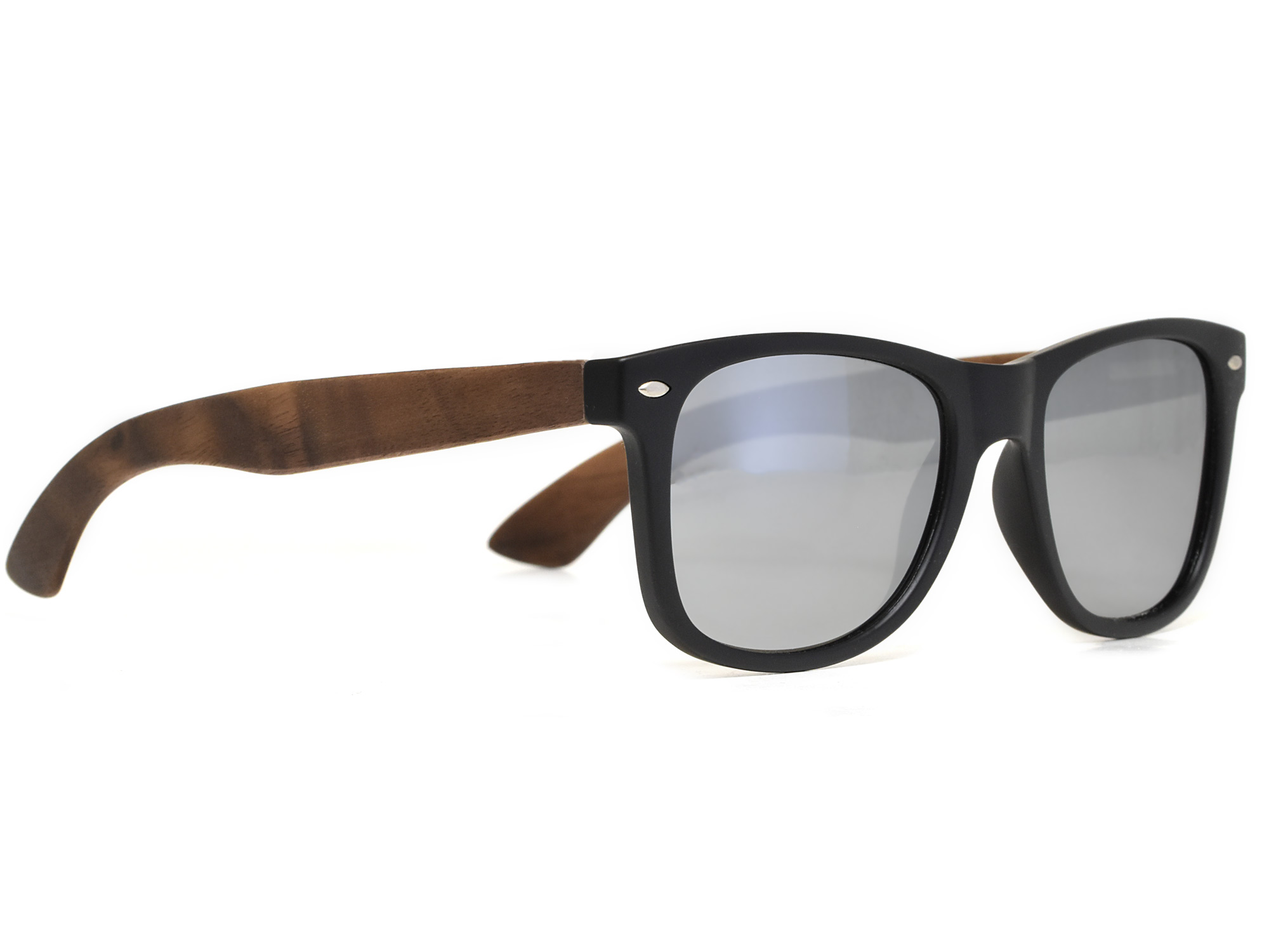Walnut wood sunglasses with silver mirrored lenses right