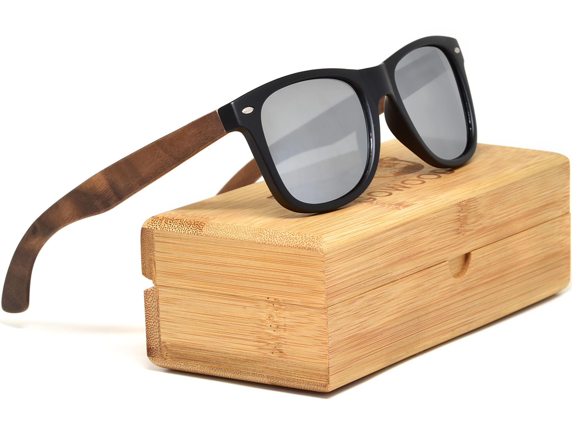 Walnut wood sunglasses with silver mirrored lenses set