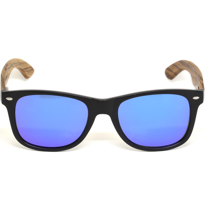 Zebra wood wayfarer sunglasses blue lenses acetate frame