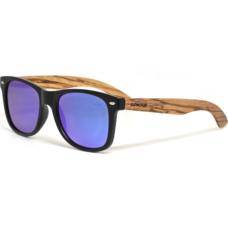 Zebra wood wayfarer sunglasses with blue mirrored polarized lenses