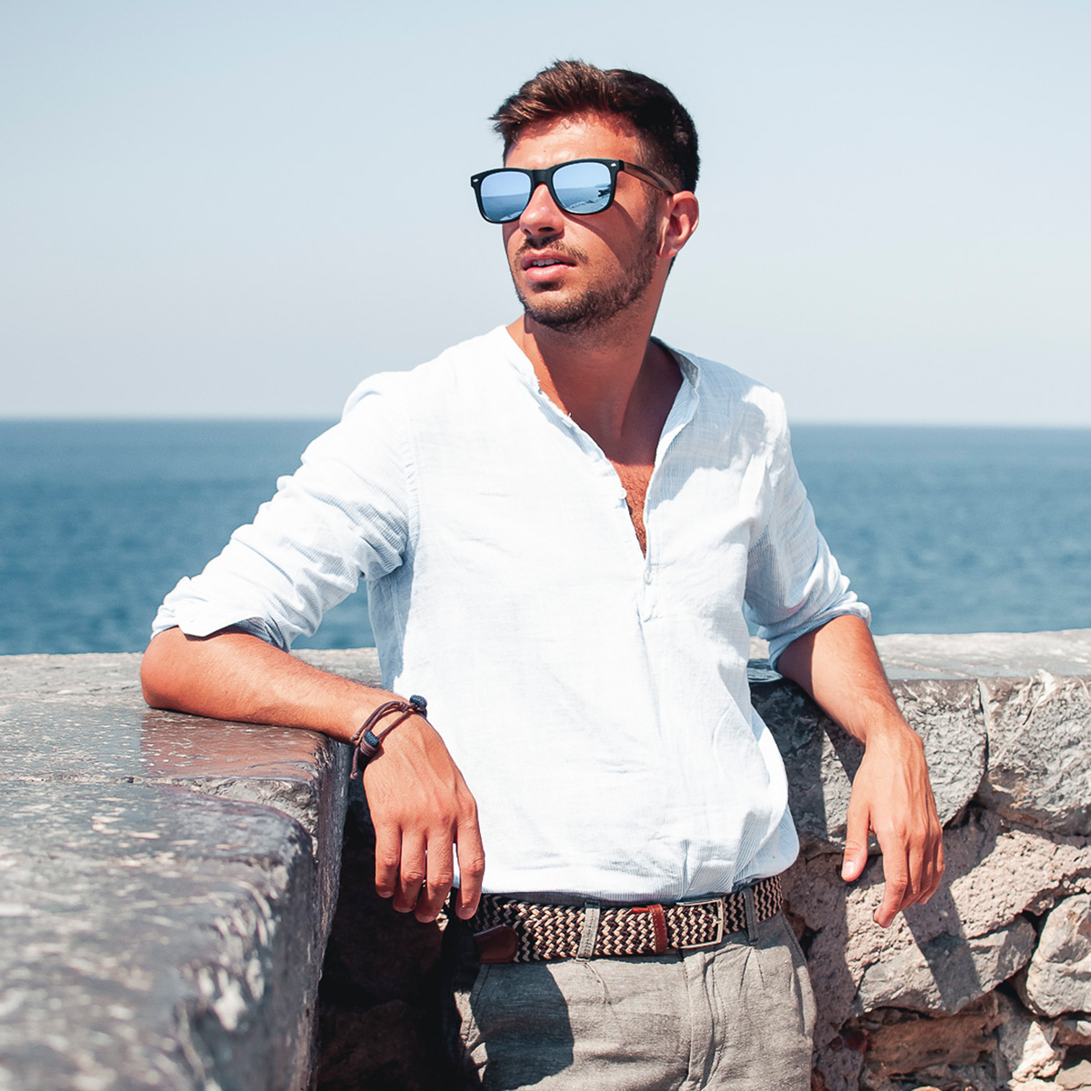 Zebra wood wayfarer sunglasses blue lenses acetate frame on men