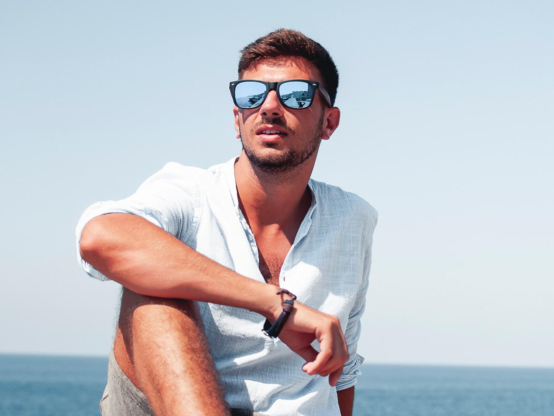Zebra wood sunglasses with blue mirrored lenses