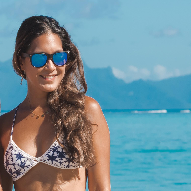 Zebra wood wayfarer sunglasses blue lenses acetate frame on women