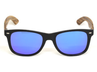 Zebra wood sunglasses with blue mirrored lenses front