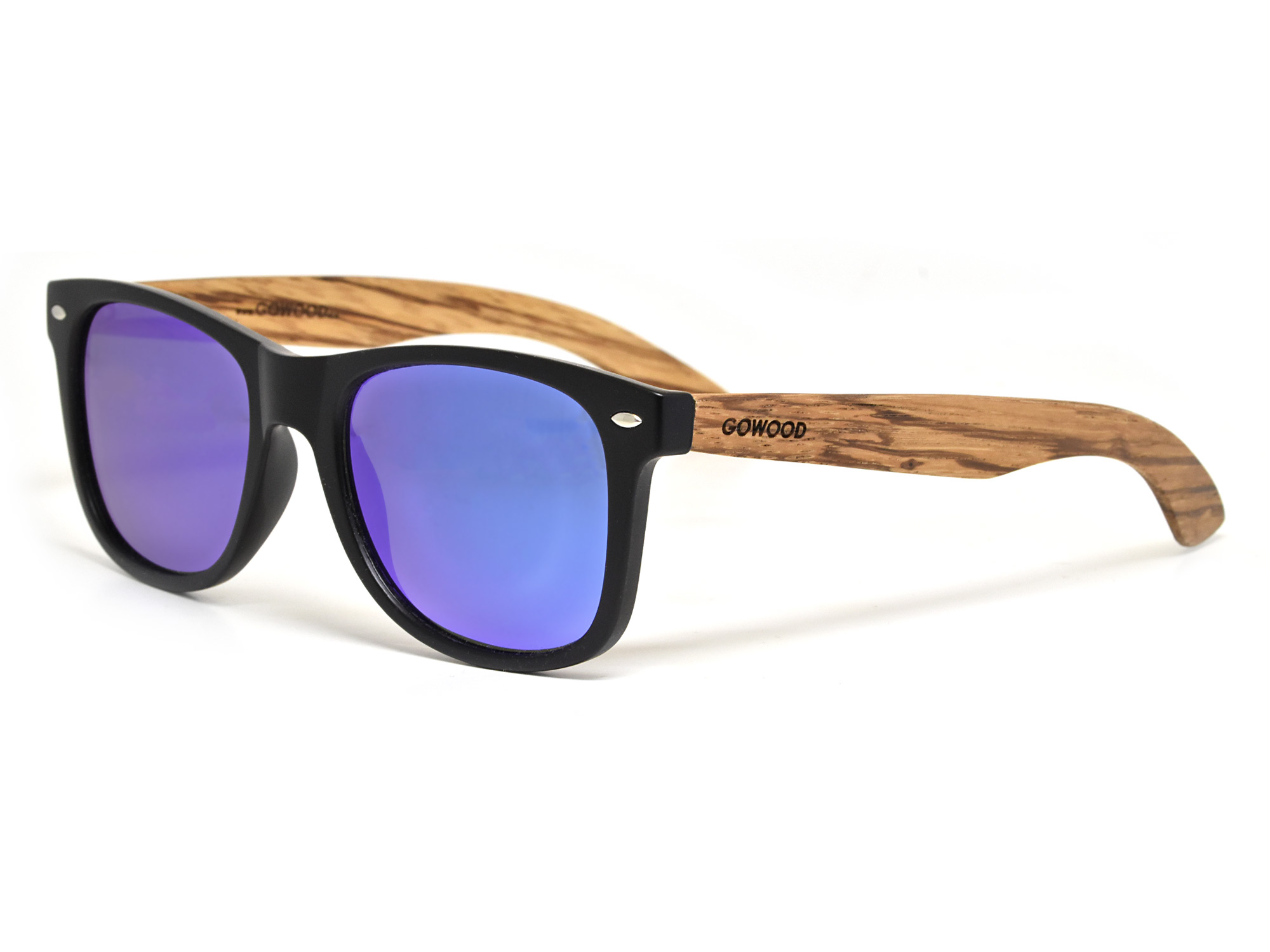 Zebra wood sunglasses with blue mirrored lenses