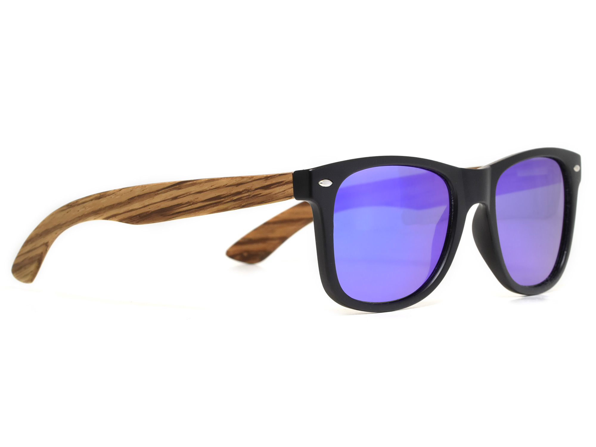 Zebra wood sunglasses with blue mirrored lenses right