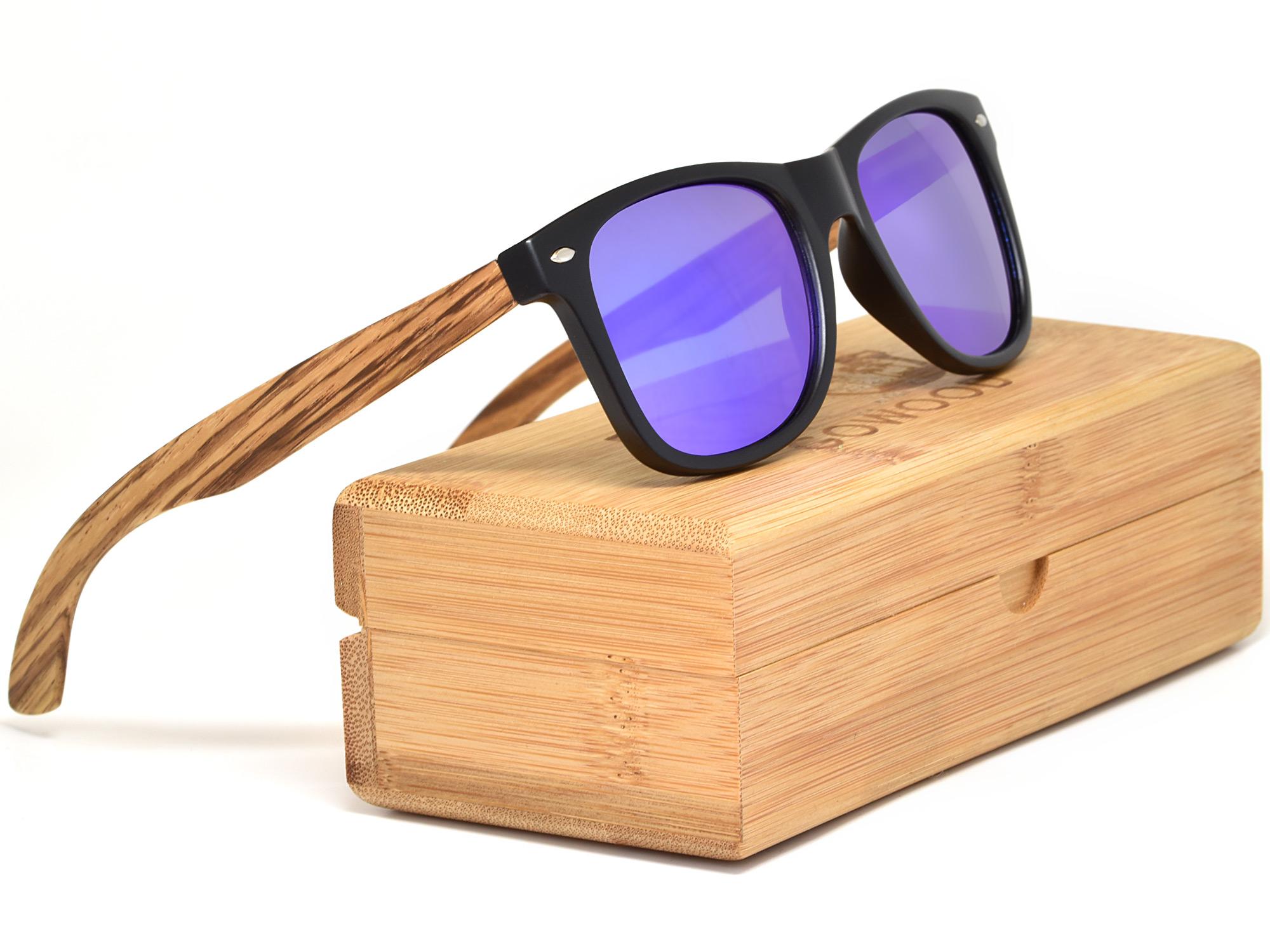 Lunettes de soleil en bois de zèbre avec verres miroir bleu boîte