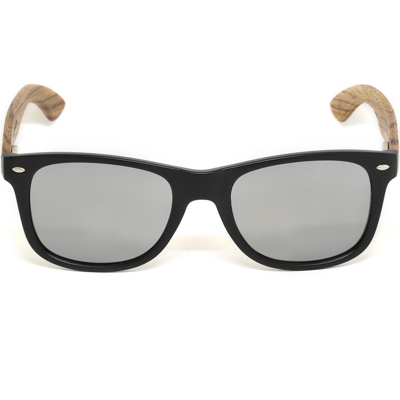 Zebra wood wayfarer sunglasses silver lenses acetate front frame