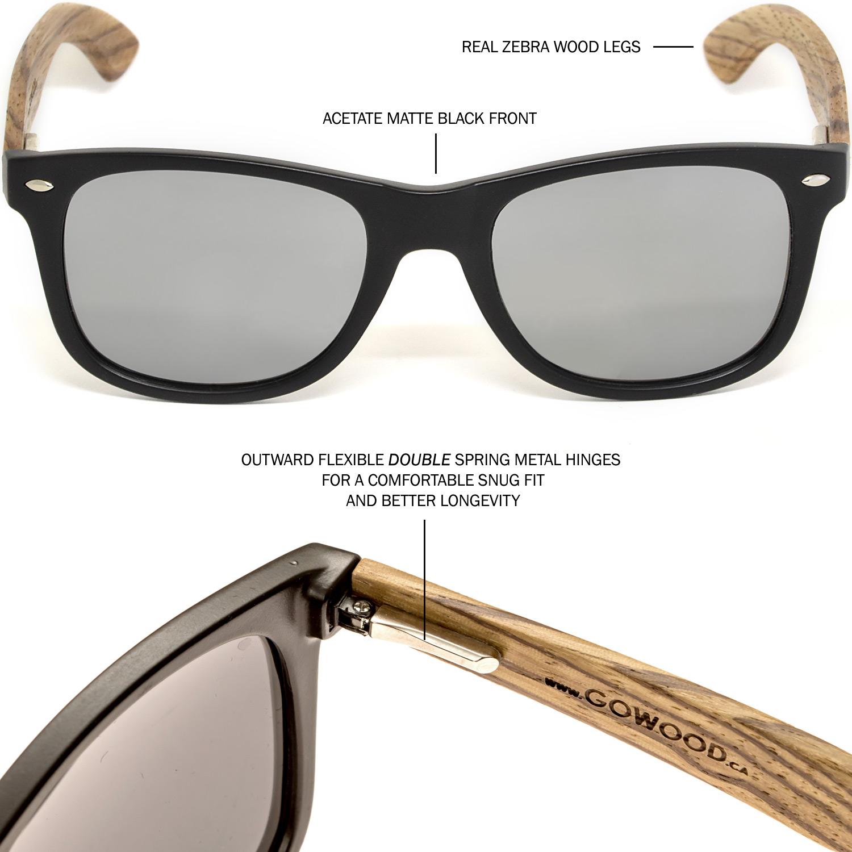 Zebra wood wayfarer sunglasses silver lenses hinge