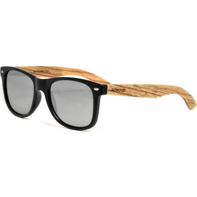 Zebra wood wayfarer sunglasses with silver mirrored polarized lenses