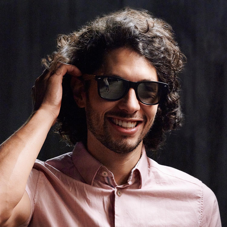 Bamboo wood wayfarer sunglasses silver lenses on men