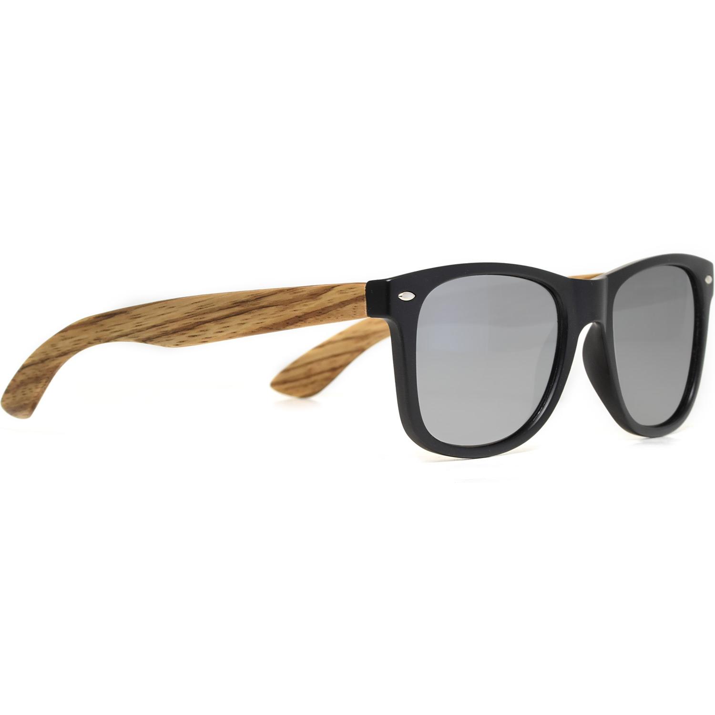 Zebra wood wayfarer sunglasses silver lenses