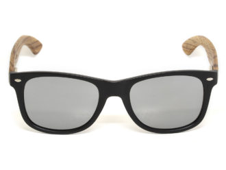 Zebra wood sunglasses with silver mirrored lenses front