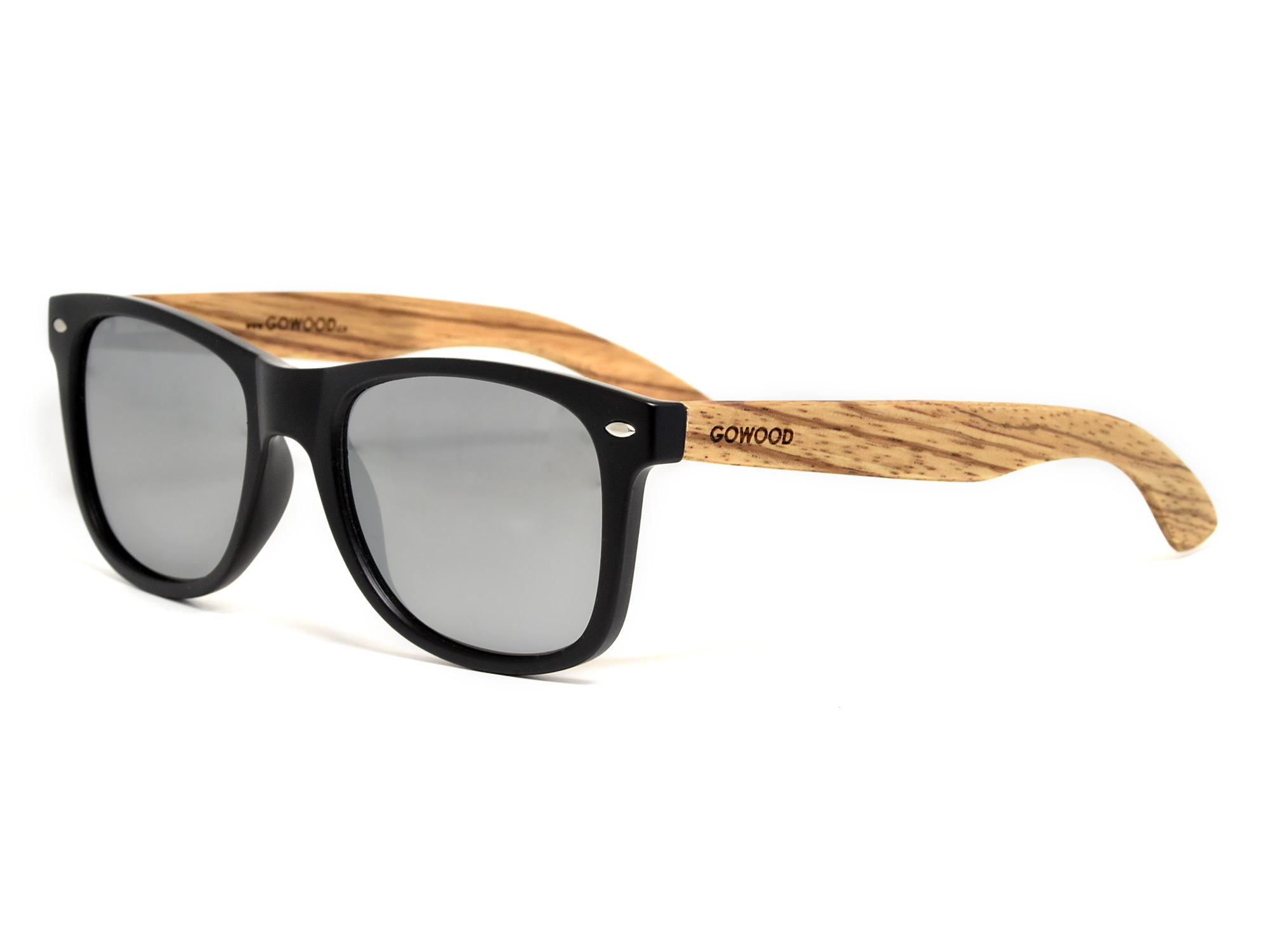 Zebra wood sunglasses with silver mirrored lenses