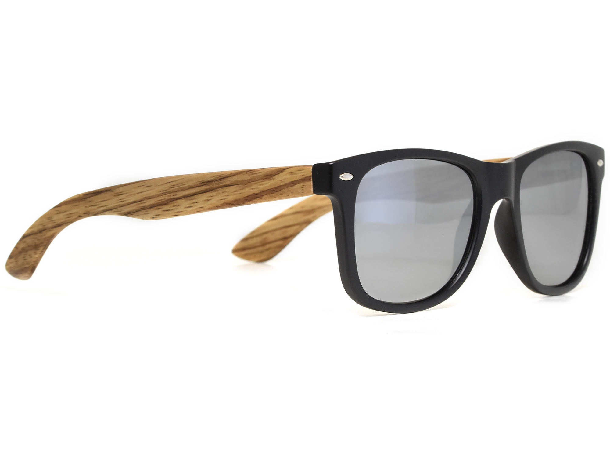 Zebra wood sunglasses with silver mirrored lenses right