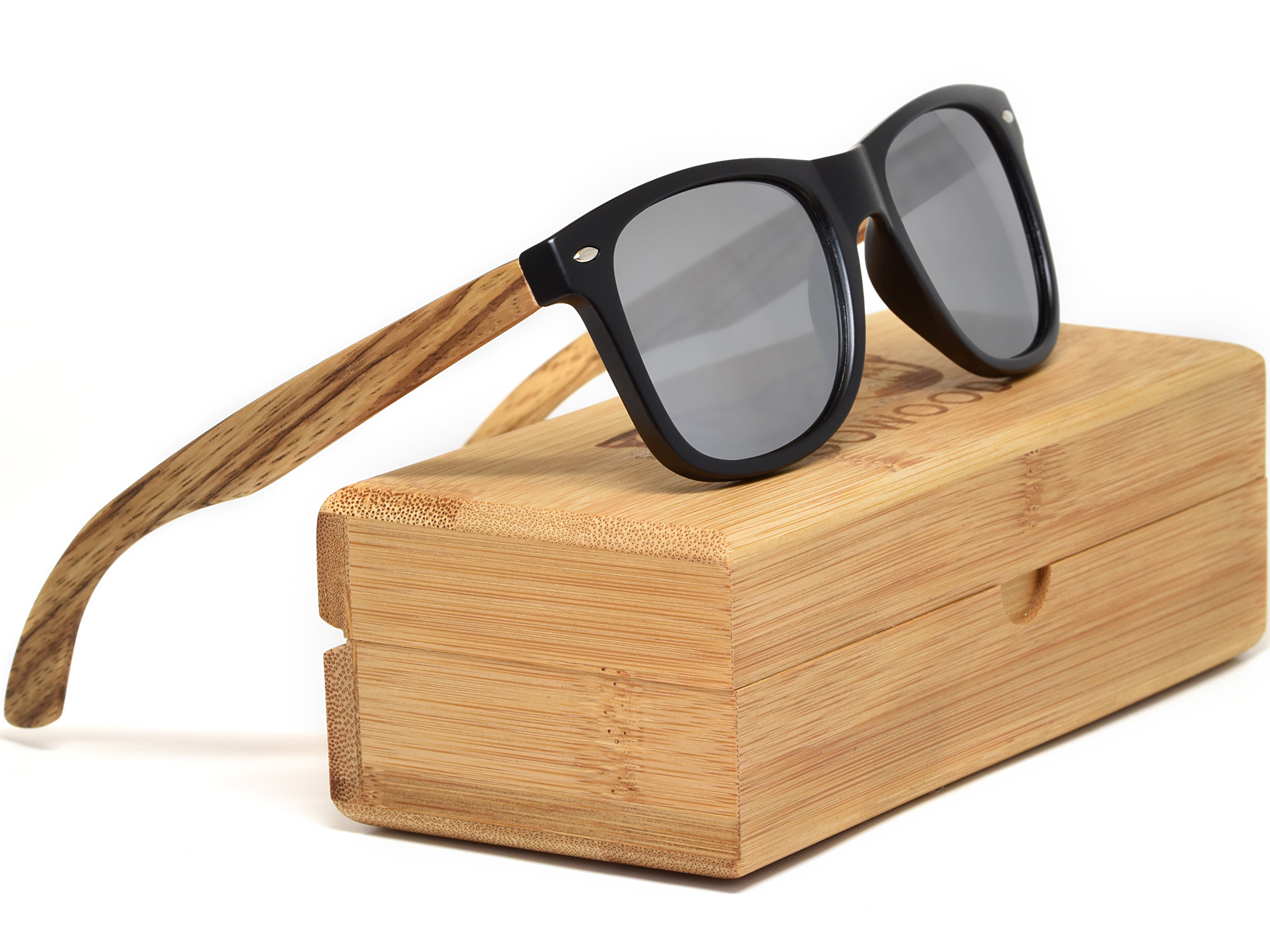 Zebra wood sunglasses with silver mirrored lenses set