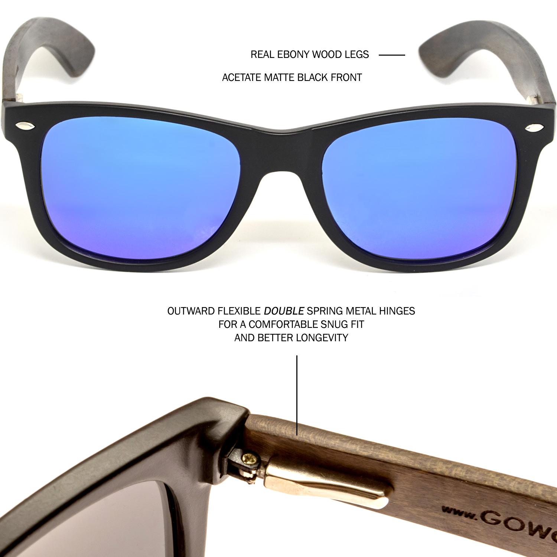 Ebony wood wayfarer sunglasses blue lenses hinge