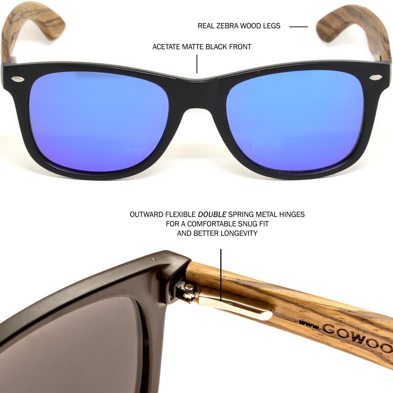 Zebra wood wayfarer sunglasses blue lenses hinge