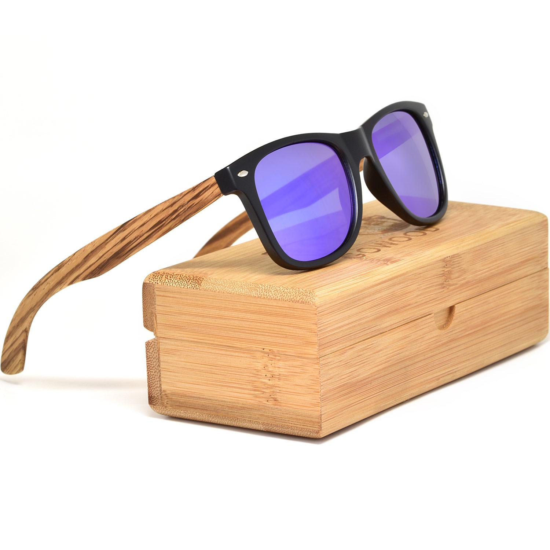 Zebra wood wayfarer sunglasses blue lenses
