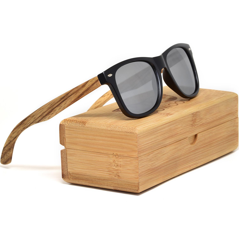 Zebra wood wayfarer sunglasses silver lenses bamboo box