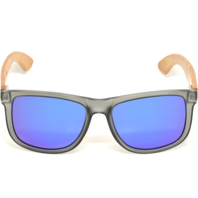 Square bamboo wood sunglasses blue mirrored polarized lenses acetate front frame