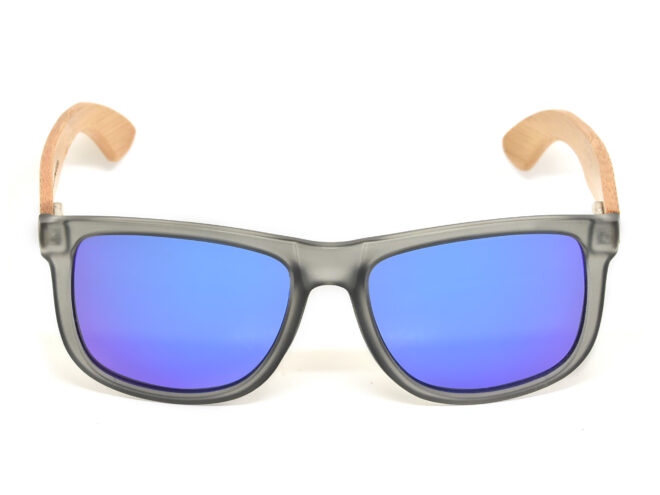 Square bamboo wood sunglasses with blue mirrored polarized lenses front