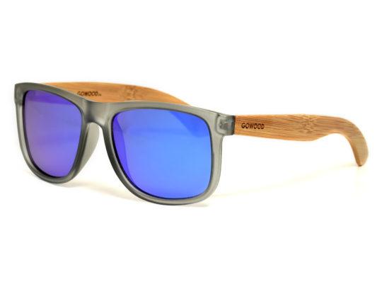 Lunettes de soleil carrées en bois de bambou avec verres miroir bleu polarisés
