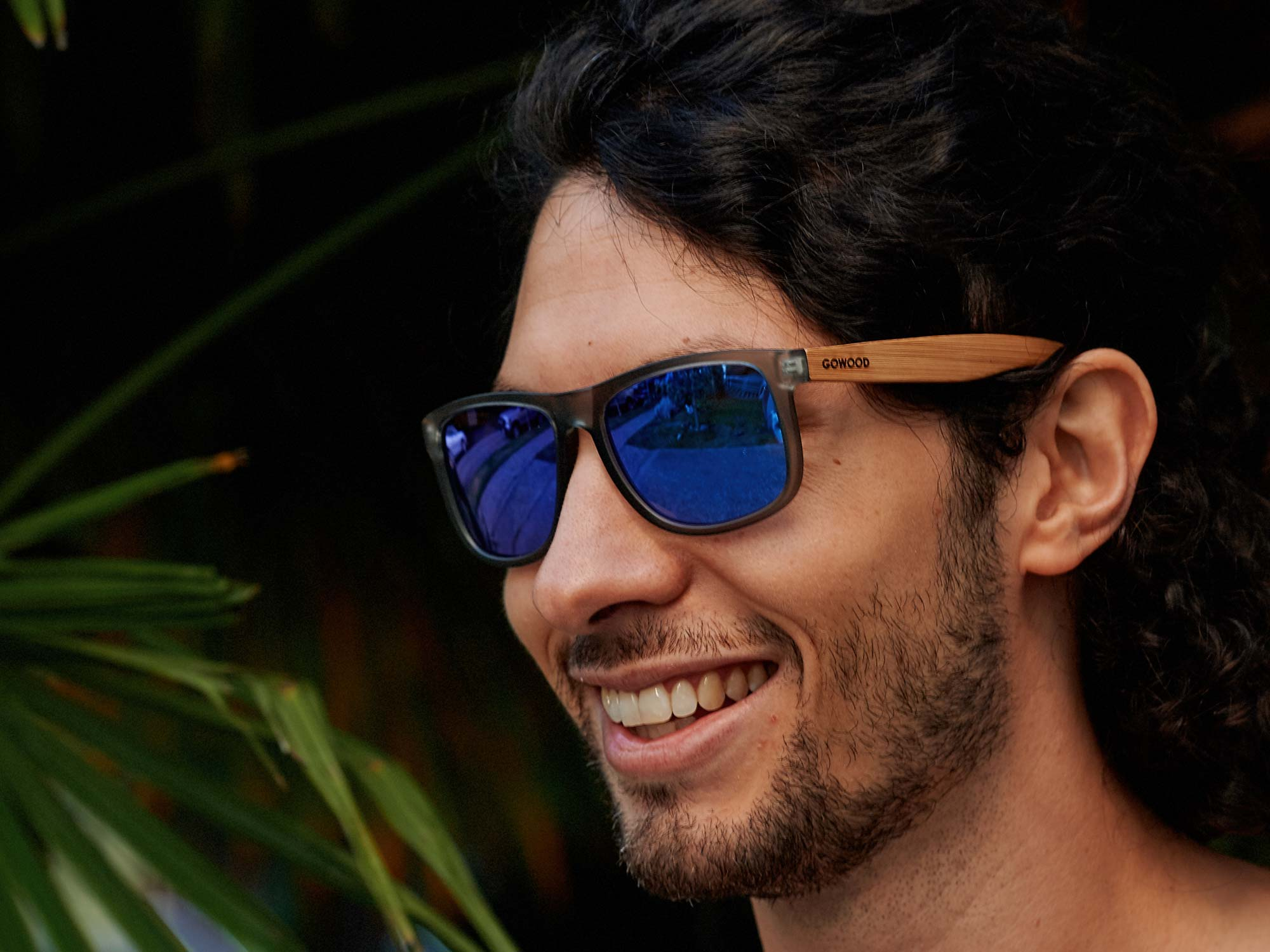 Square bamboo wood sunglasses with blue mirrored polarized lenses