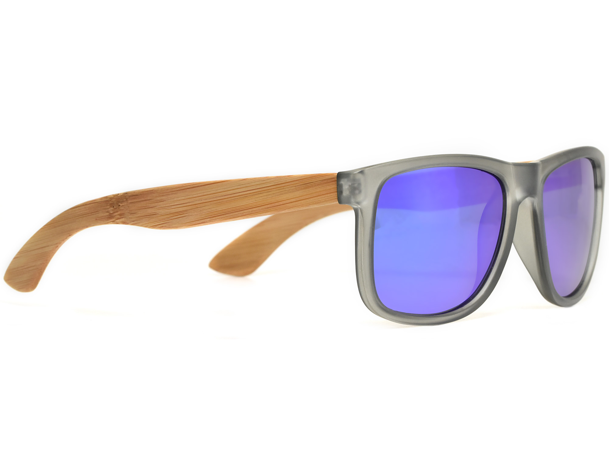 Square bamboo wood sunglasses with blue mirrored polarized lenses right