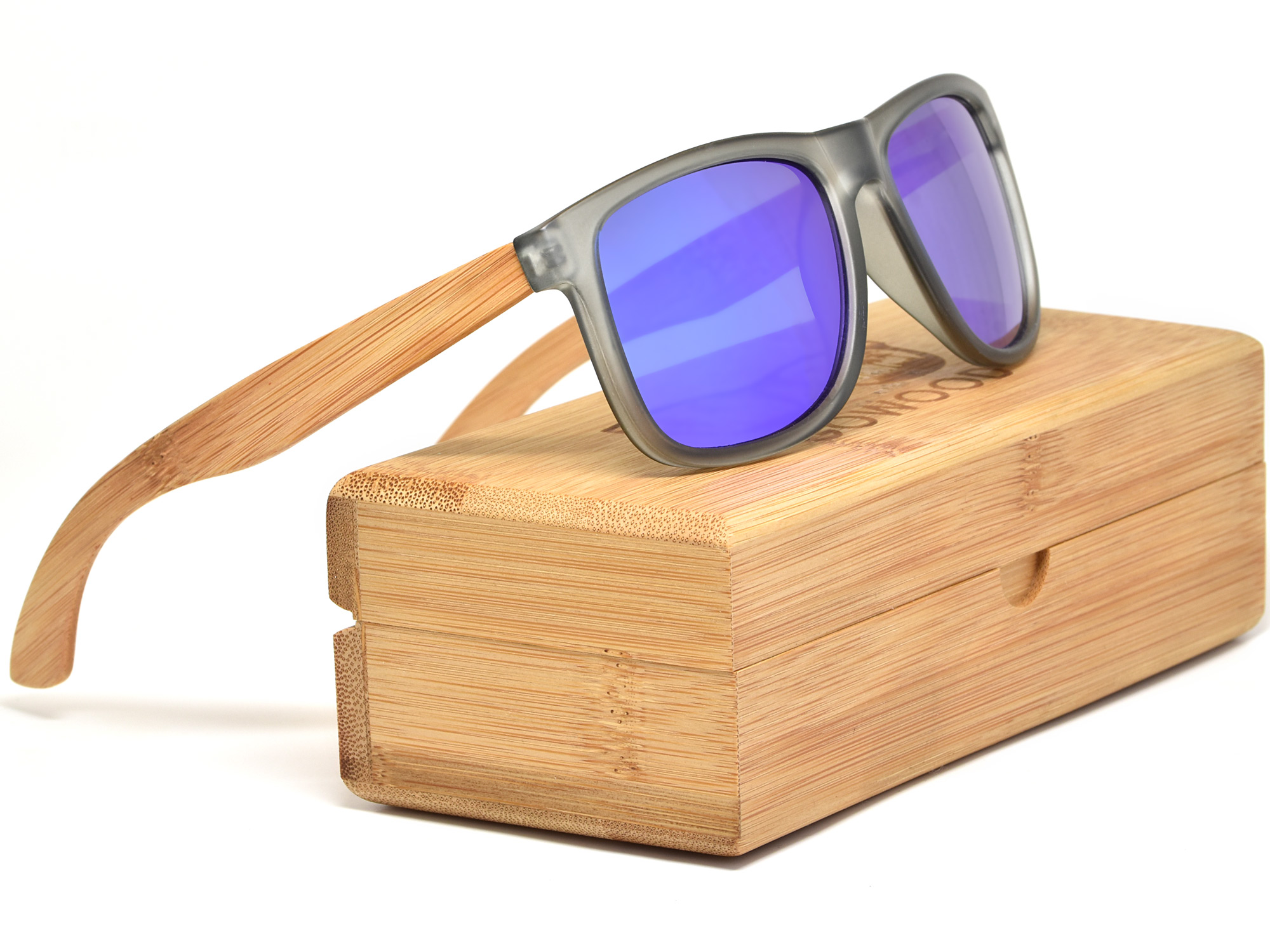 Square bamboo wood sunglasses with blue mirrored polarized lenses set
